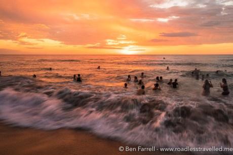 Sunset swimming at Crystal Beach Resort, Philippines