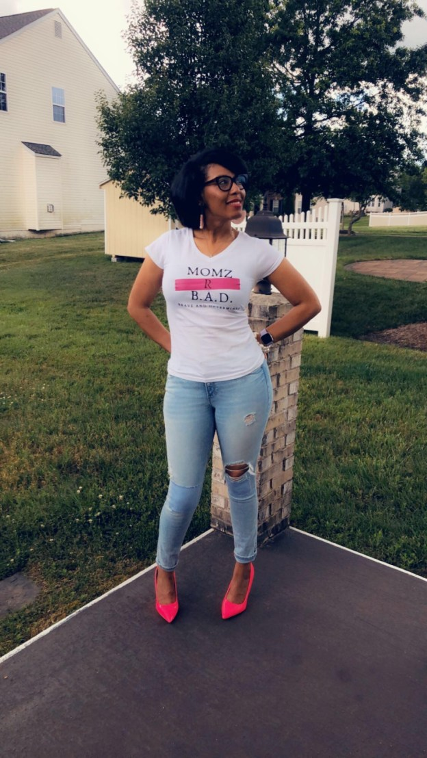 Momz R B.A.D. (BRAVE AND DETERMINED) t-shirt modeled by Chassity Parrish