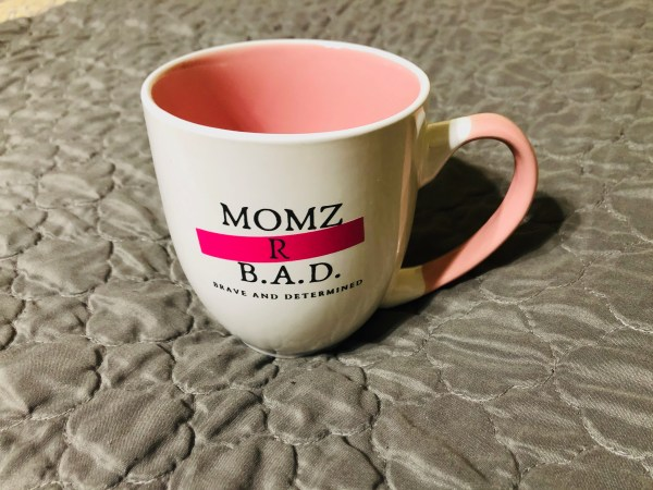 Momz R B.A.D. (Brave And Determined) Coffee Mug in pink, black and white