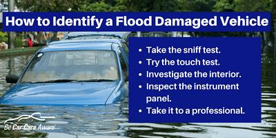 Identify a flood damaged vehicle.