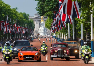 Current and heritage Jaguar and Land Rover vehicles on The Mall