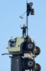 Volvo Truck president Claes Nilsson got into the act to support the brands new truck during this dare devil commercial. (Volvo photo)