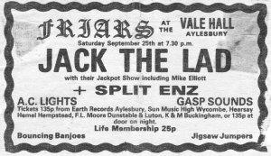 Ad for Split Enz at Friars Aylesbury