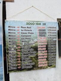 Fahrplan Minca, Kolumbien