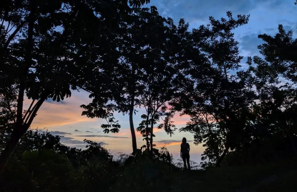Sonnenuntergang un Minca, Kolumbien