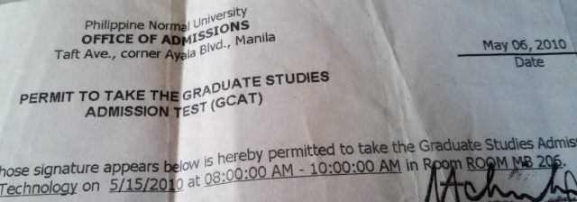 How did I start my Master Degree in Philippine Normal University