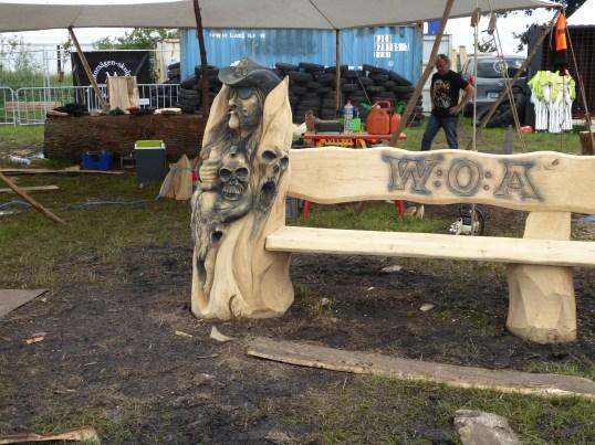Lemmy carving at WOA Wacken Open Air heavy metal festival, Germany
