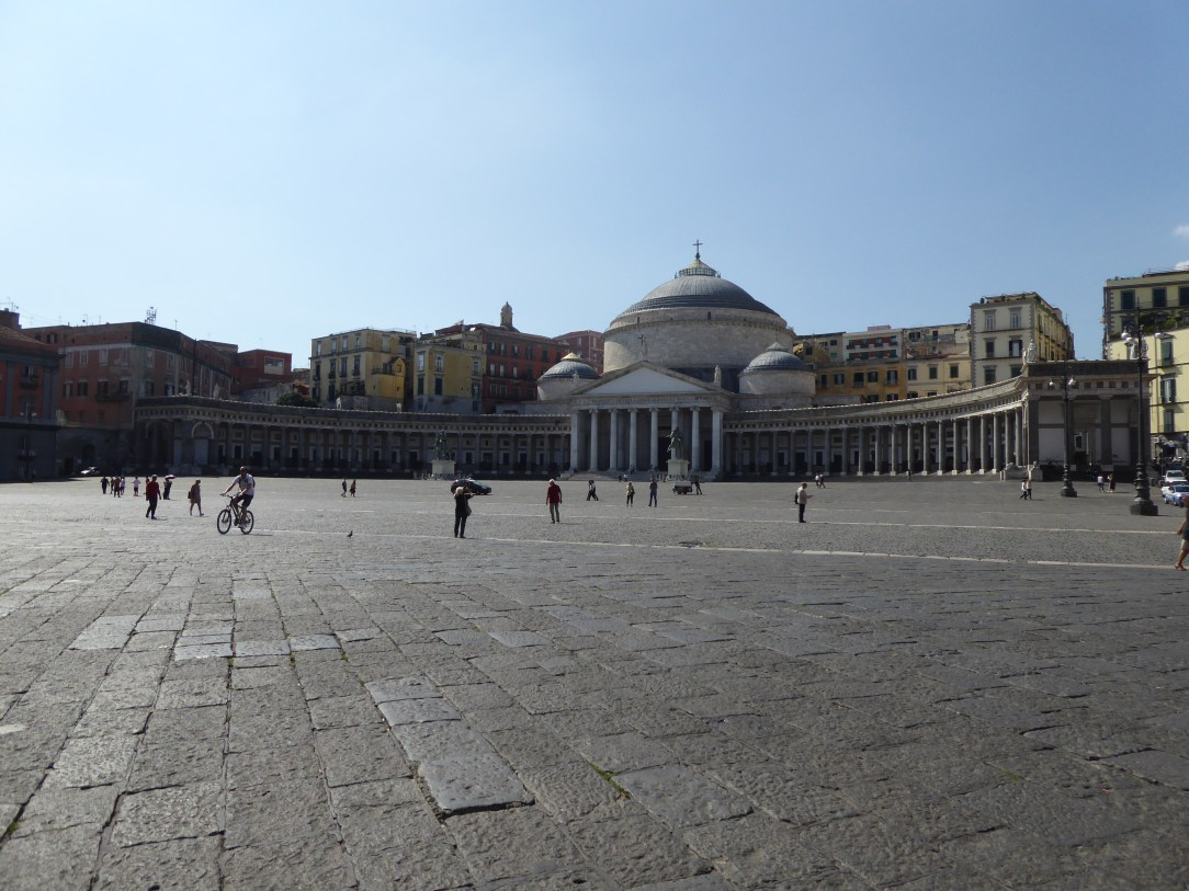 Piazza del Plebiscito, a large public square in central Naples, Italy