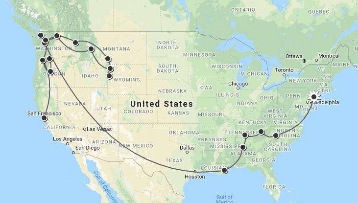 USA Honeymoon Map