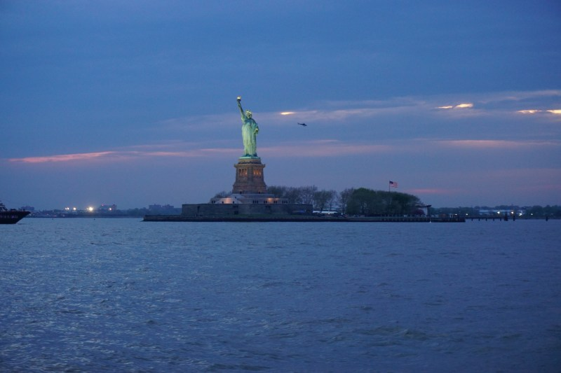 Statue of Liberty at Sunset from the water