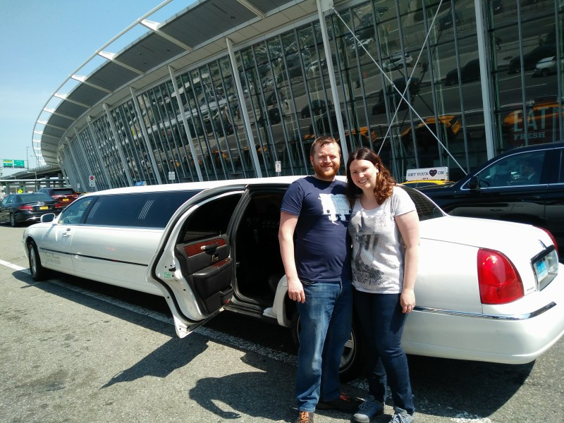 White Stretch Limo outside of JFK New York