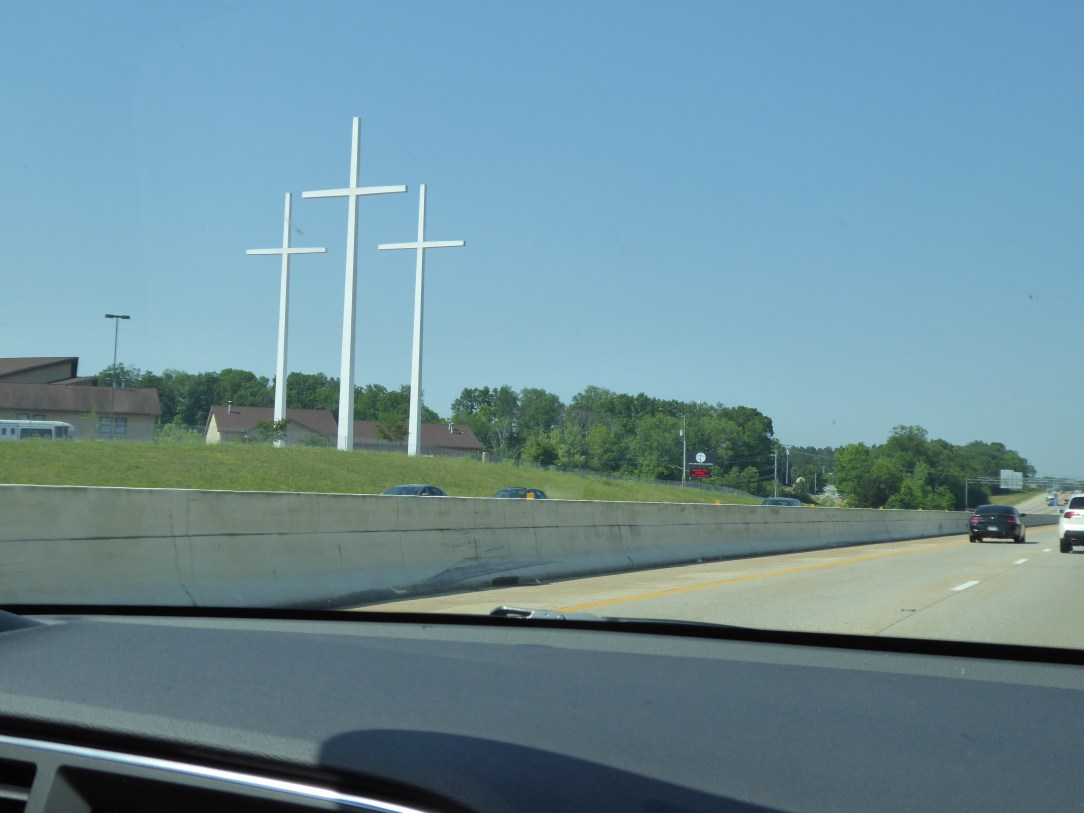 Three large white crosses in Tennessee