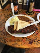 Ribs meal at Barrel House BBQ, Lynchburg TN