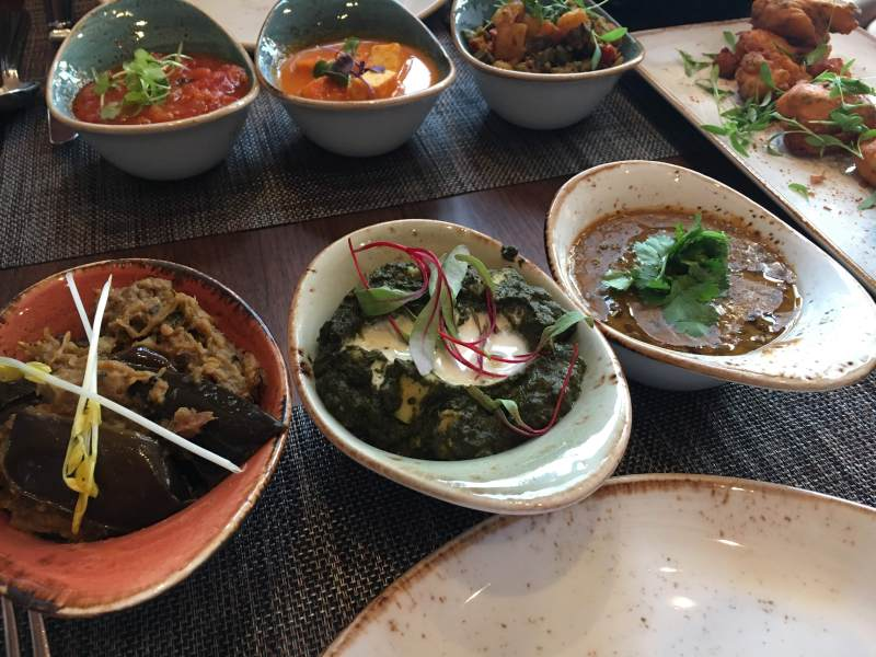 six roti sathi dishes at Saffron, New Orleans