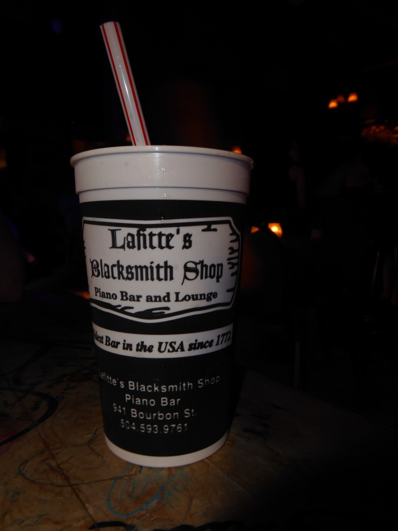 Hurricane in a to go cup from Lafitte's Blacksmith Shop