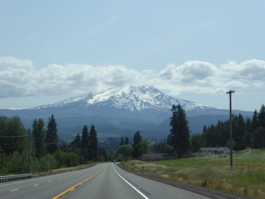 View of Mount Hood from the road in Oregon
