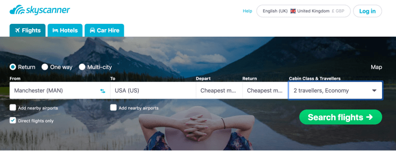 Skyscanner screenshot for Manchester to USA flights
