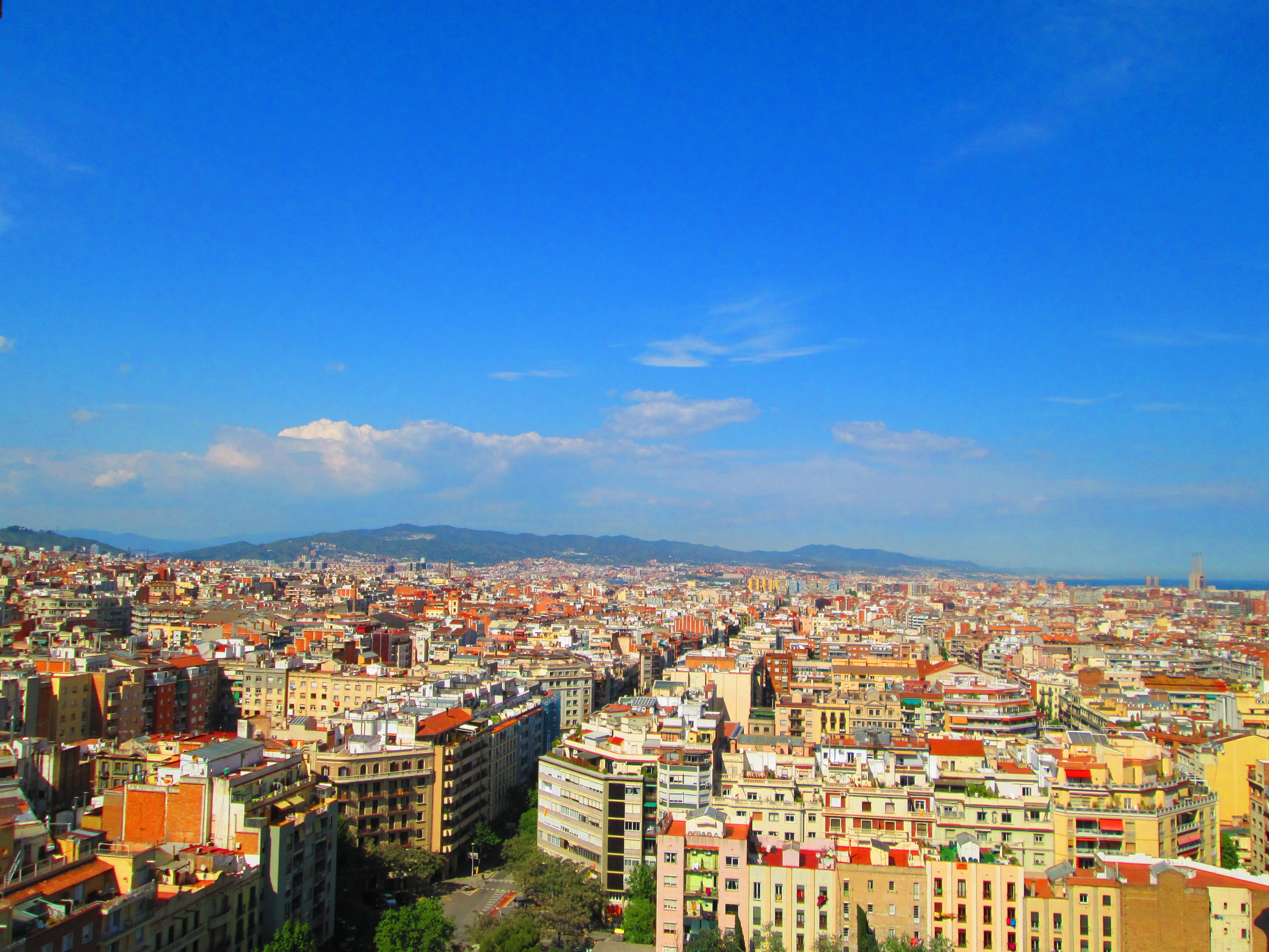 View of Barcelona from the towers of View from the towers of La Sagrada Familia in Barcelona
