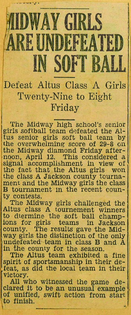 vintage newspaper article: Midway Girls Are Undefeated in Soft Ball
