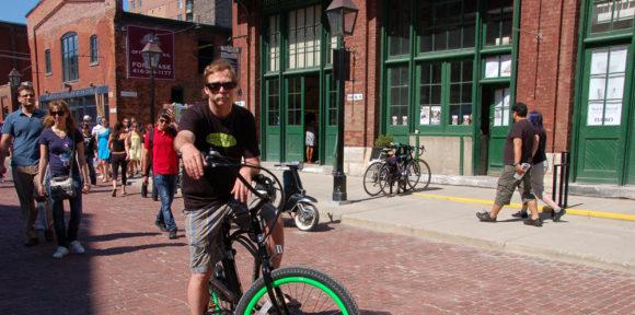 cyclist at Distillery District, Toronto