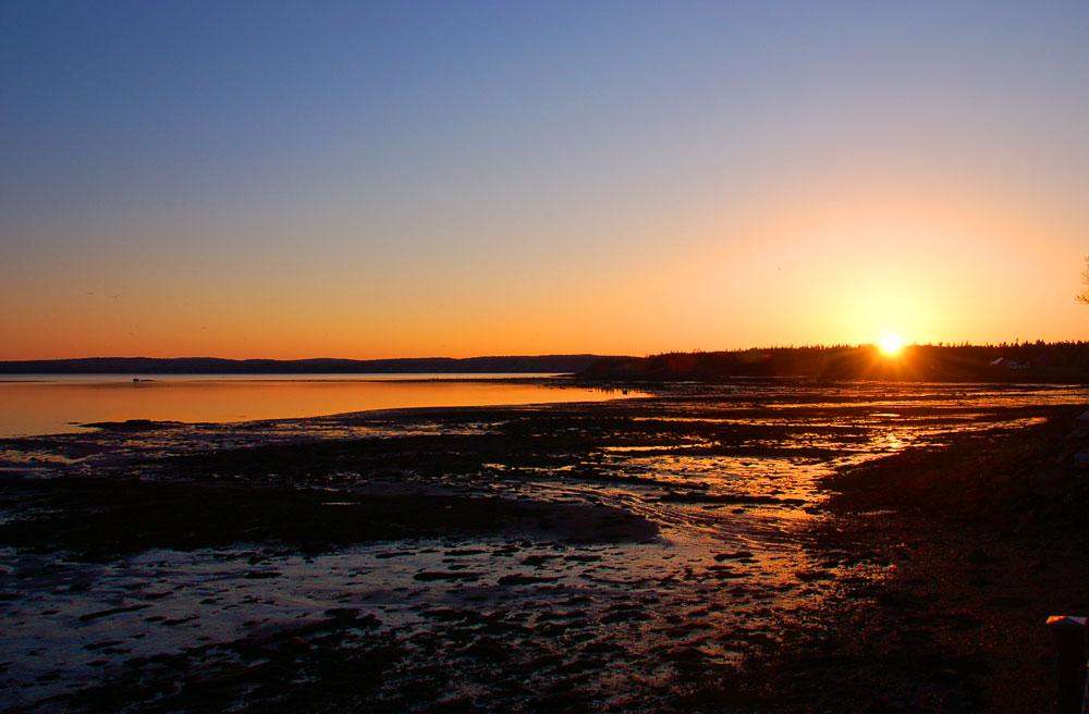sunset over the beach on Passamaquoddy Bay