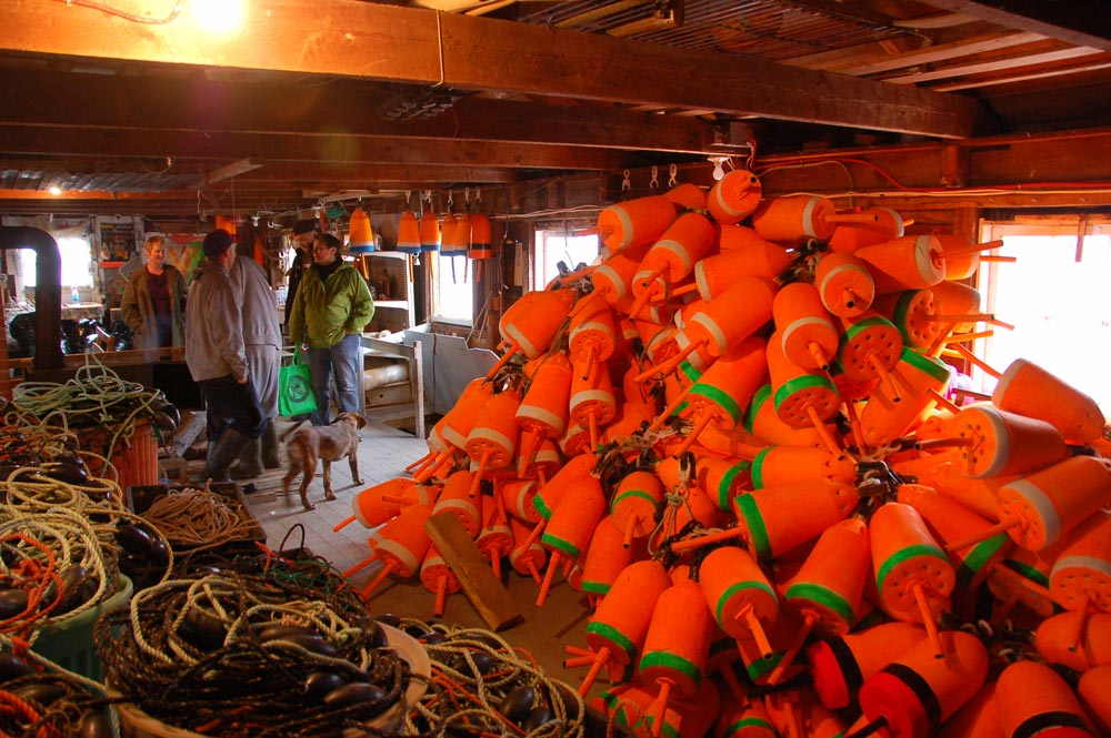 Pile of orange buoys in a fishing shed at Seal Cove on Grand Manan Island, New Brunswick, Canada