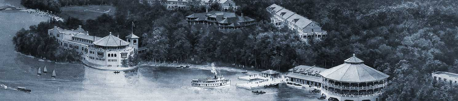 historic rendering of the Bigwin Island resort in its heyday