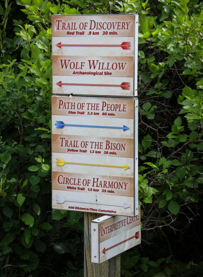 trail signage at Wanuskewin Heritage Park