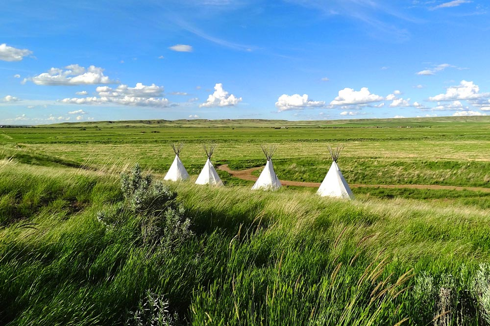 tipis or teepees in Grasslands National Park, Saskatchewan