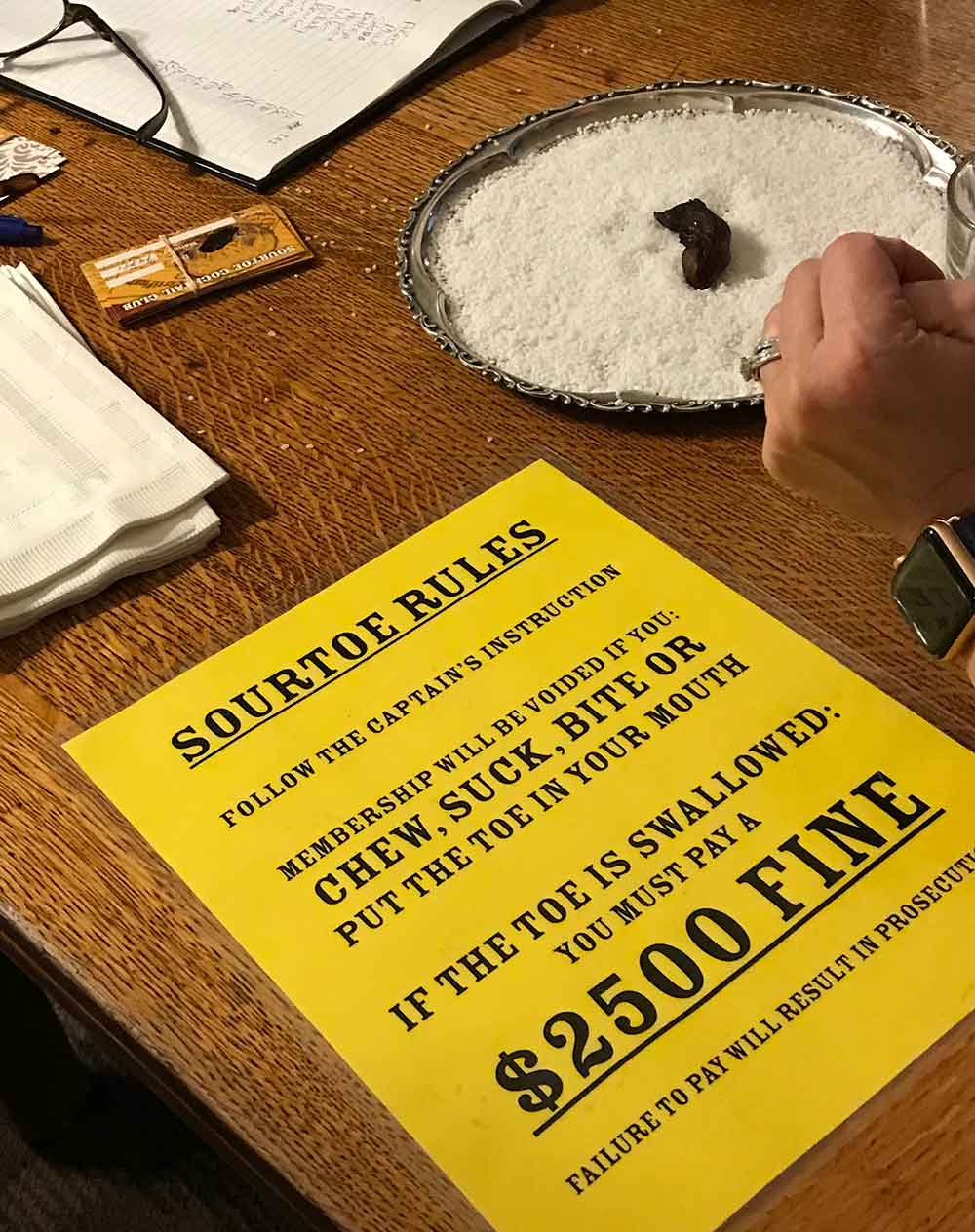 Dawson City sourtoe rules