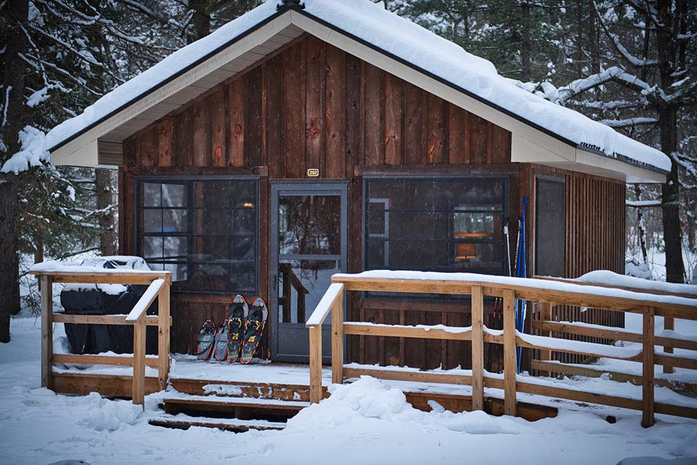 Roofed Accommodations at Arrowhead Provincial Park Cabin in winter