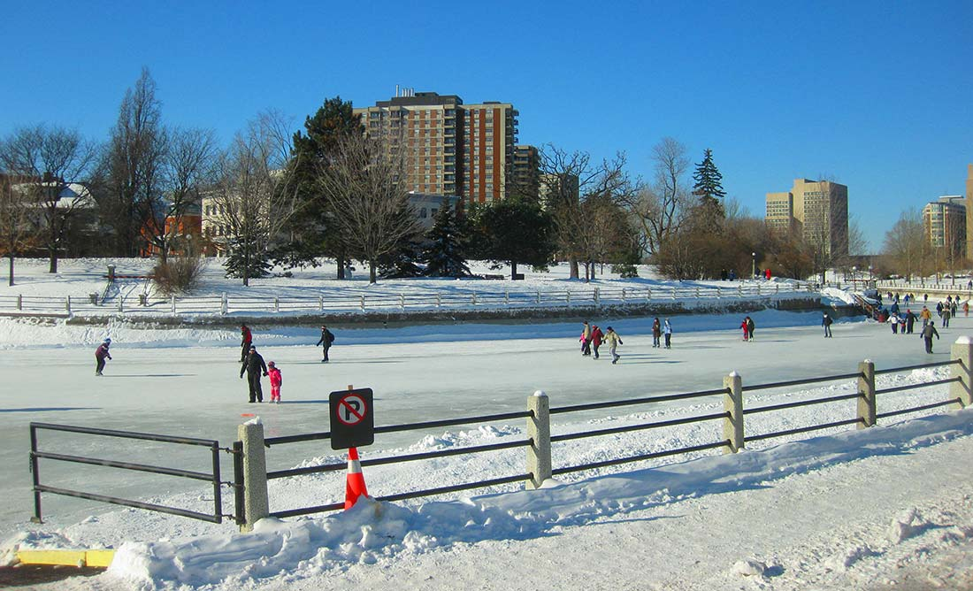 Ottawa-Skating on Rideau Canal in winter