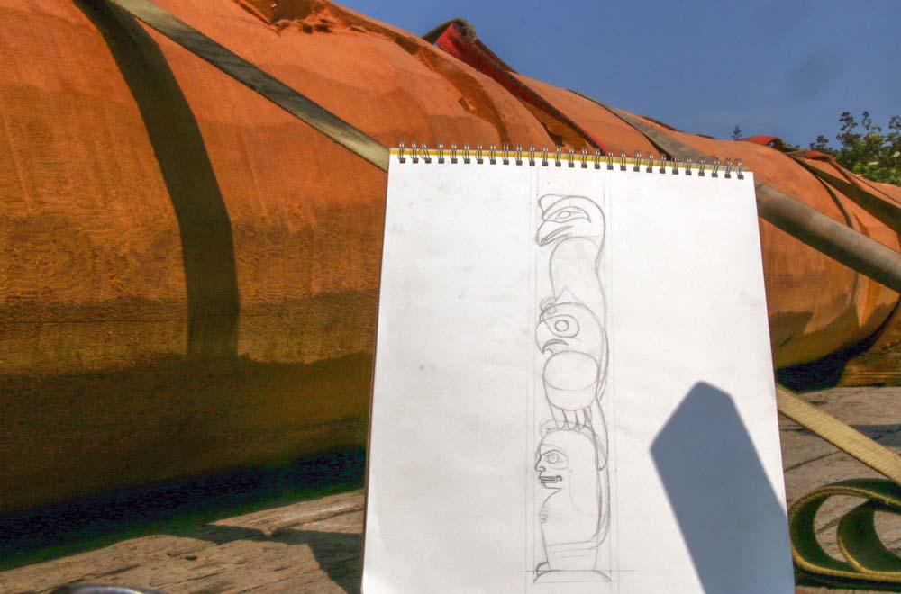 Totem Pole Carving - sketch of pole