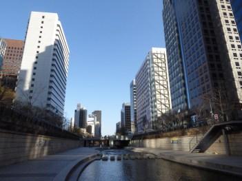 Walking down cheonggyecheon stream