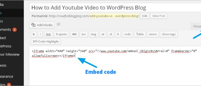 youtube embed code on wordpress
