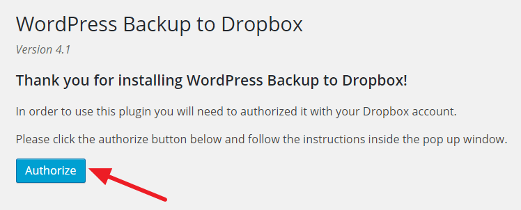 Authorize Dropbox account