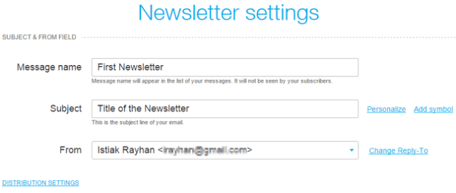 Newsletter Settings