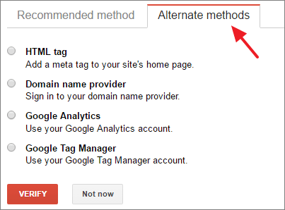 Search Console Alternate Method