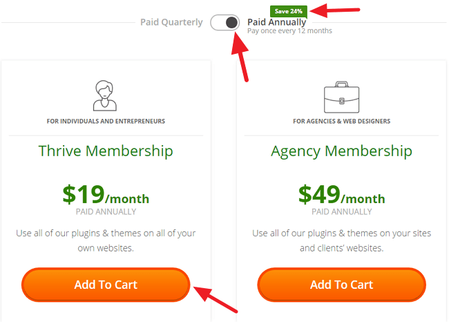 Thrive Themes Membership Plan