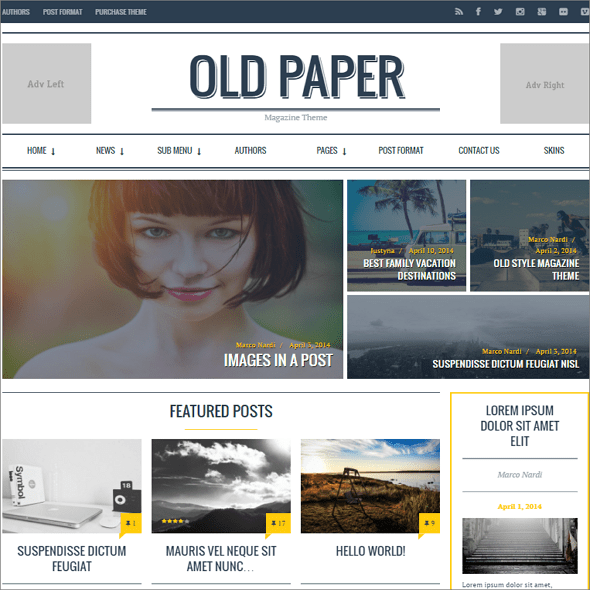OldPaper WordPress Theme
