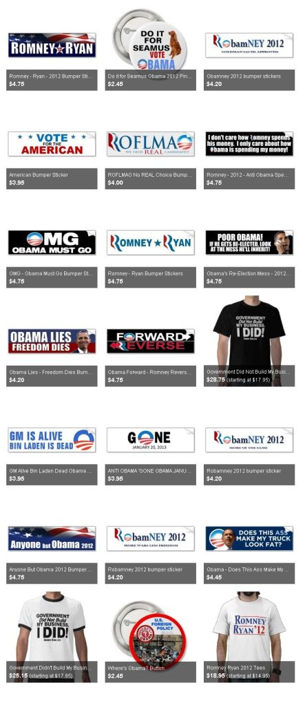 PRESIDENT ELECTION BUTTONS, STICKERS, TSHIRTS – ROMNEY, OBAMA