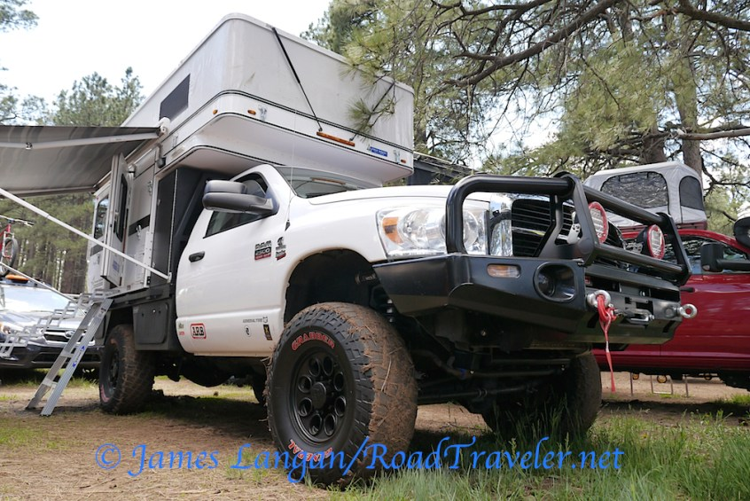 Mario Donovan, co-owner of AT Overland Equipment, built this Third Gen. recently. An ARB bumper protects the nose, and a Four Wheel Camper mounts to a custom flatbed.
