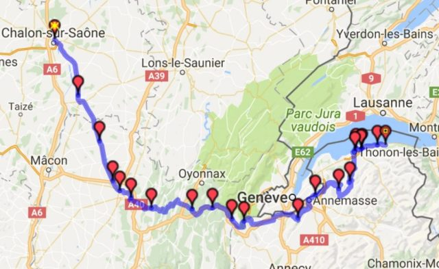 Itinéraire du Jour 2 Chalon-Evian-les-bains