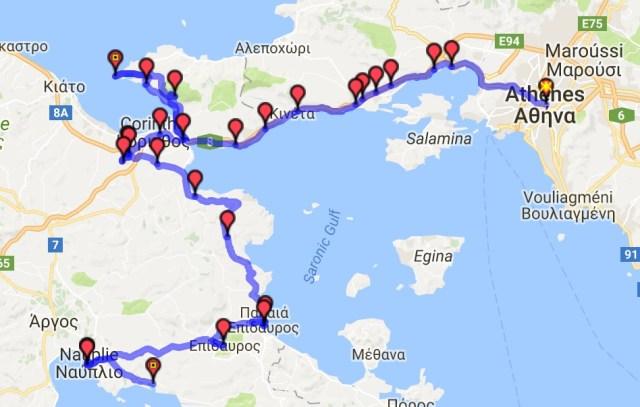 Itinéraire du jour 23 - Athènes - Nauplie