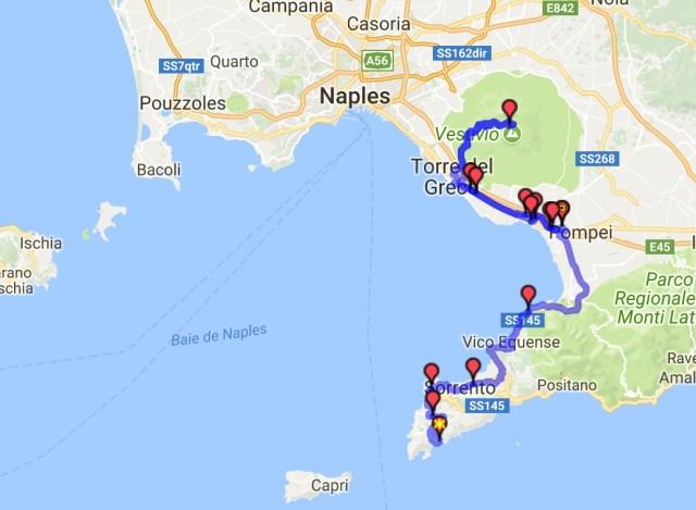 Itinéraire du jour 32 - Nerano - Pompéi