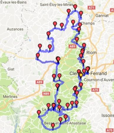 Carte du roadbook du premier jour de roulage en Auvergne