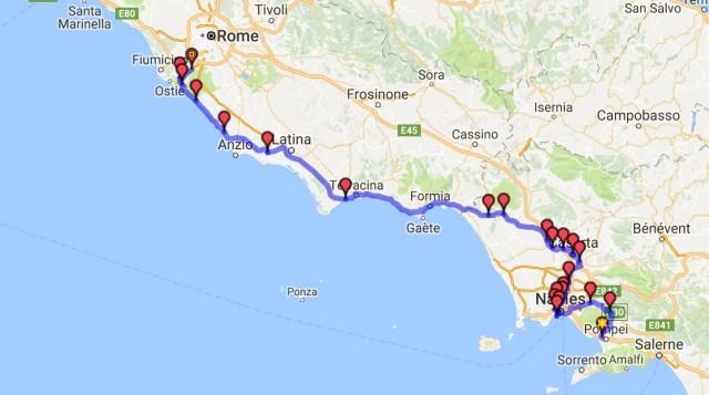 Itinéraire du jour 33 - Pompéi - Rome
