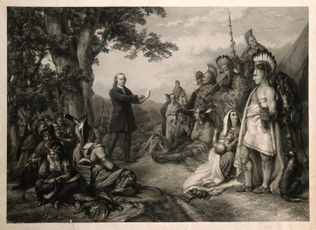 V0006867 John Wesley preaching to native American Indians. Engraving.