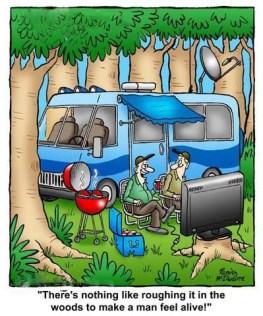 cartoon campers watching a big screen T.V.