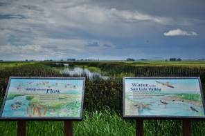 signs about water fowl in San Luis Valley